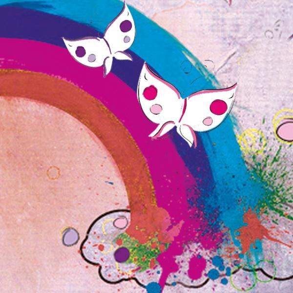 Gemalter Regenbogen mit Schmetterlingen